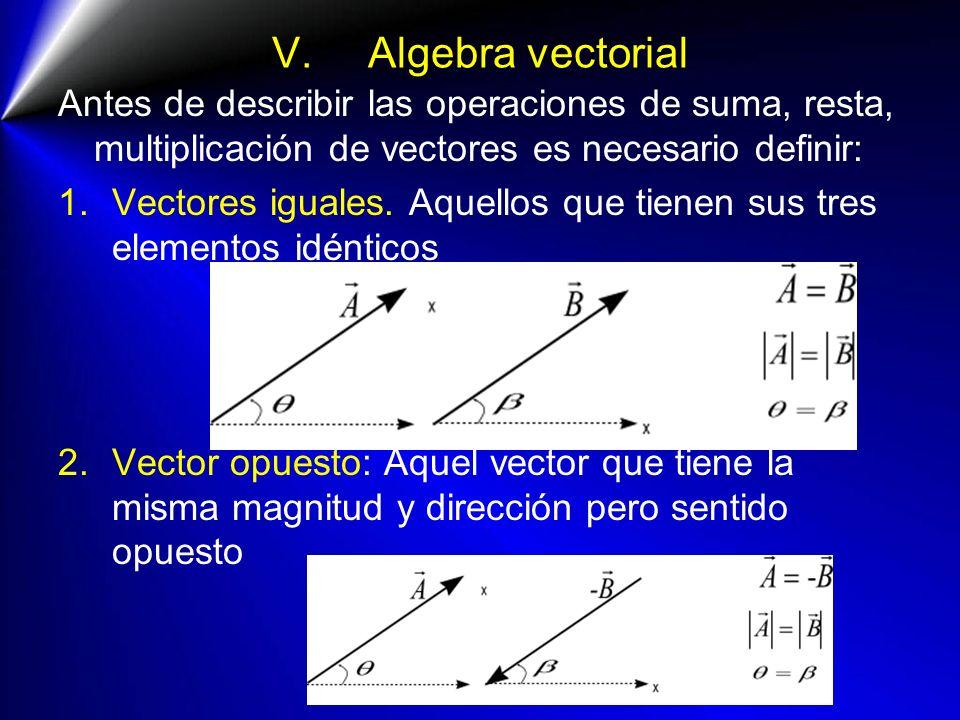 V. Algebra vectorial Antes de describir las operaciones de suma, resta, multiplicación de vectores es necesario definir: