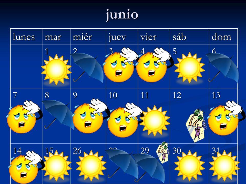 junio lunes mar miér juev vier sáb dom 1 2 3 4 5 6 7 8 9 10 11 12 13