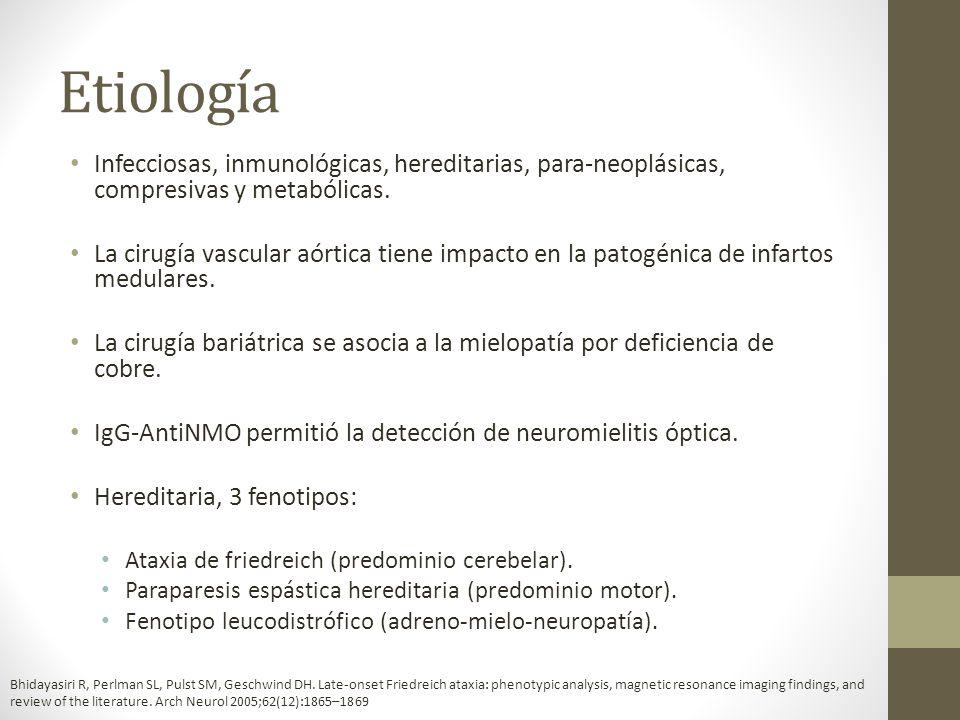 Etiología Infecciosas, inmunológicas, hereditarias, para-neoplásicas, compresivas y metabólicas.