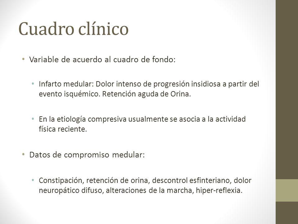 Cuadro clínico Variable de acuerdo al cuadro de fondo: