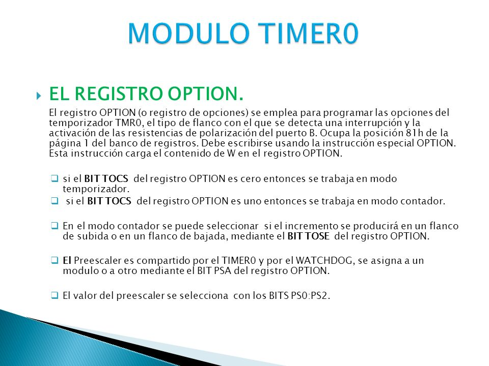 MODULO TIMER0 EL REGISTRO OPTION.