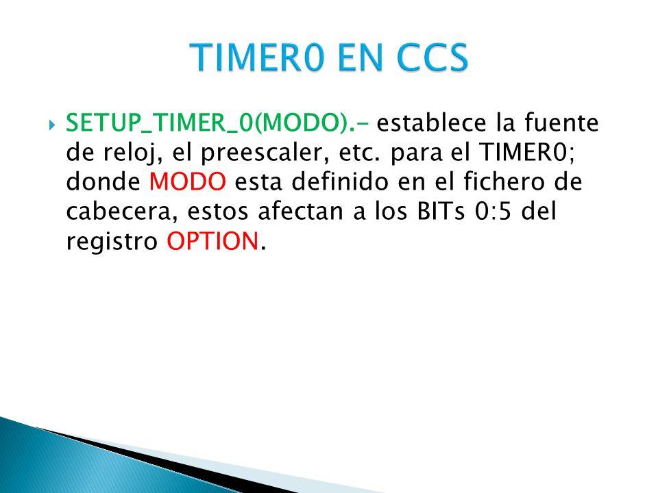 TIMER0 EN CCS