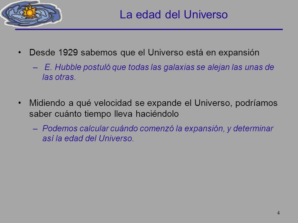 La edad del Universo Desde 1929 sabemos que el Universo está en expansión. E. Hubble postuló que todas las galaxias se alejan las unas de las otras.