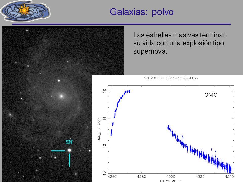 Galaxias: polvo Las estrellas masivas terminan su vida con una explosión tipo supernova. OMC