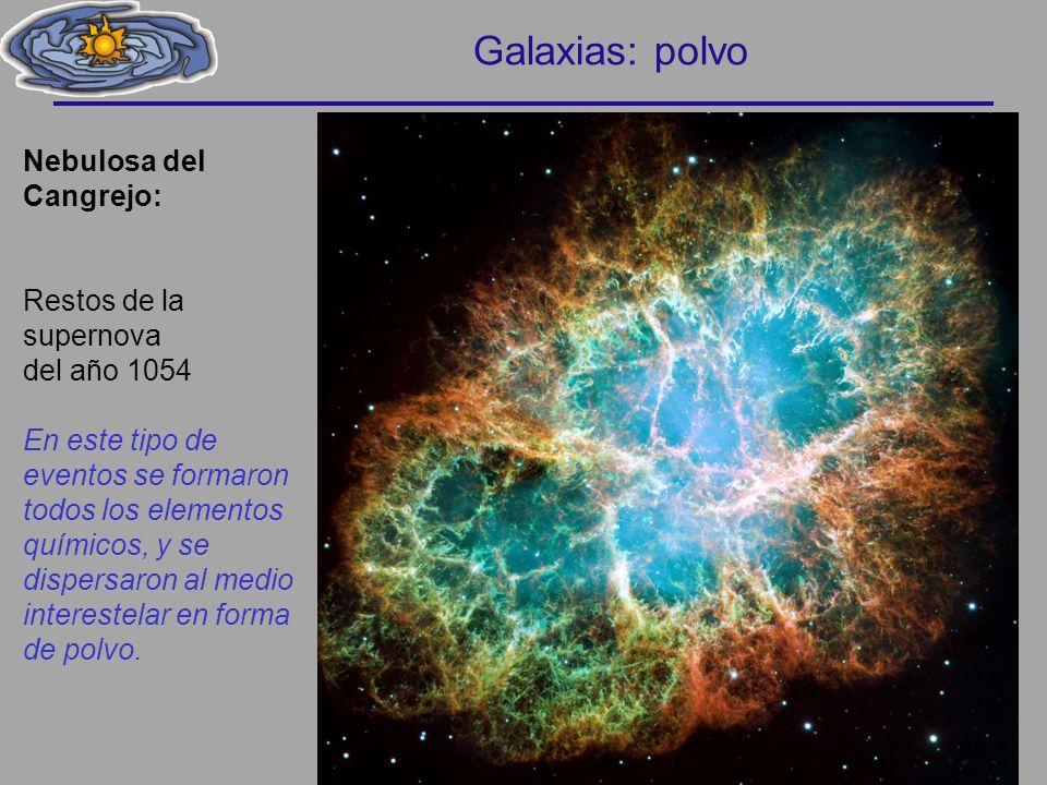 Galaxias: polvo Nebulosa del Cangrejo: Restos de la supernova