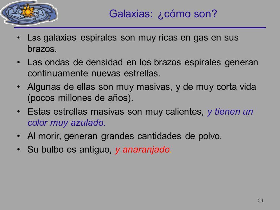 Galaxias: ¿cómo son Las galaxias espirales son muy ricas en gas en sus brazos.