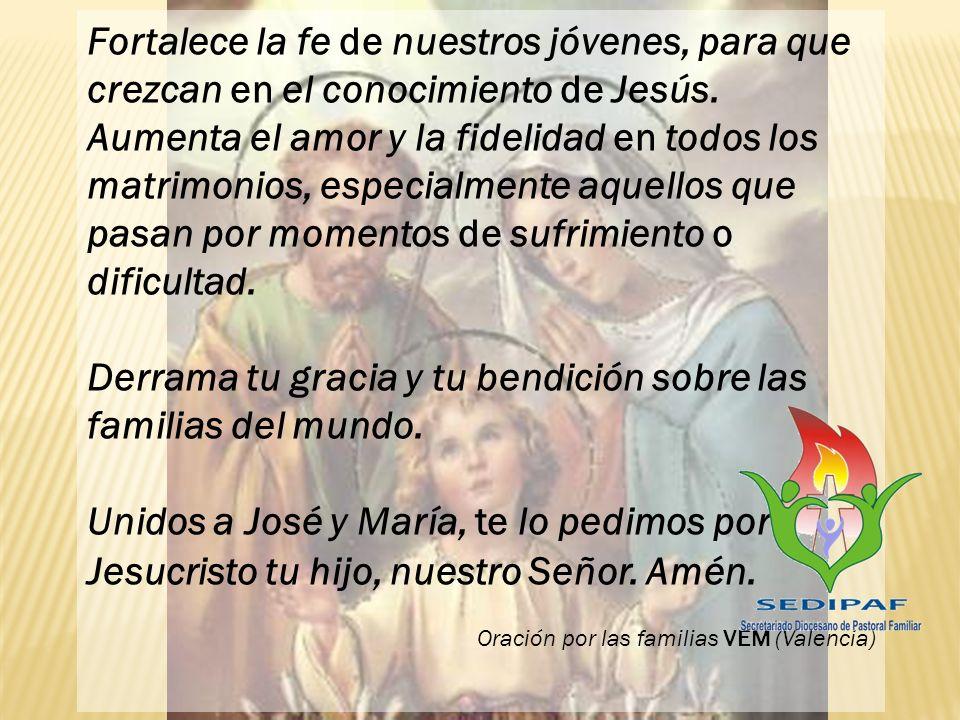 Derrama tu gracia y tu bendición sobre las familias del mundo.