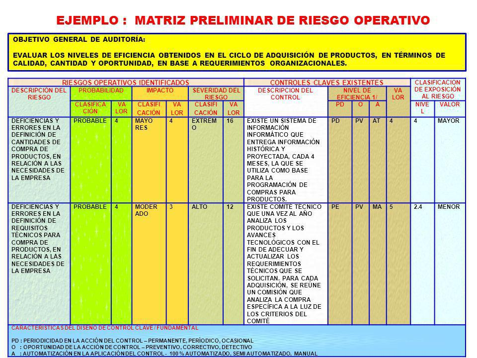 EJEMPLO : MATRIZ PRELIMINAR DE RIESGO OPERATIVO