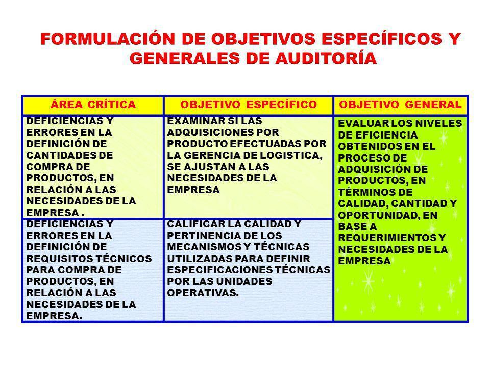 FORMULACIÓN DE OBJETIVOS ESPECÍFICOS Y GENERALES DE AUDITORÍA