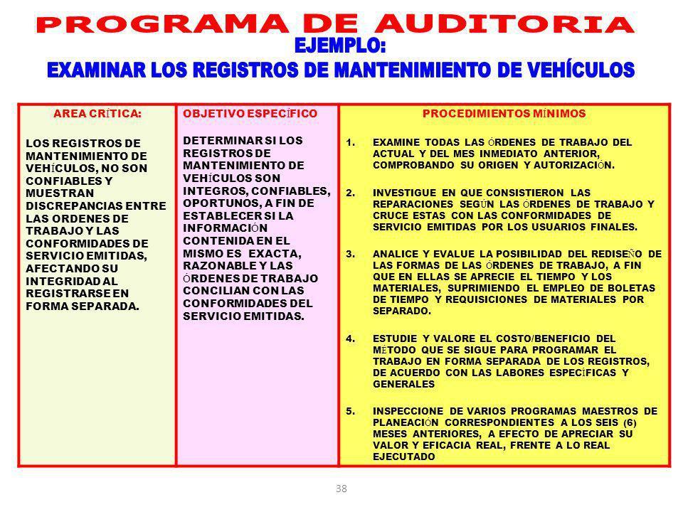 EXAMINAR LOS REGISTROS DE MANTENIMIENTO DE VEHÍCULOS
