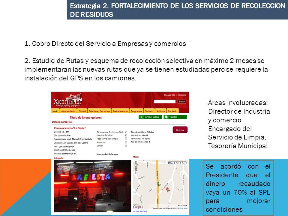 Estrategia 2. FORTALECIMIENTO DE LOS SERVICIOS DE RECOLECCION DE RESIDUOS