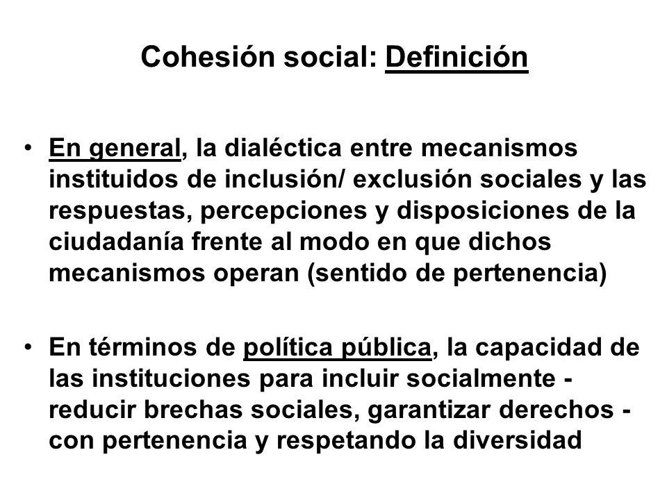Cohesión social: Definición