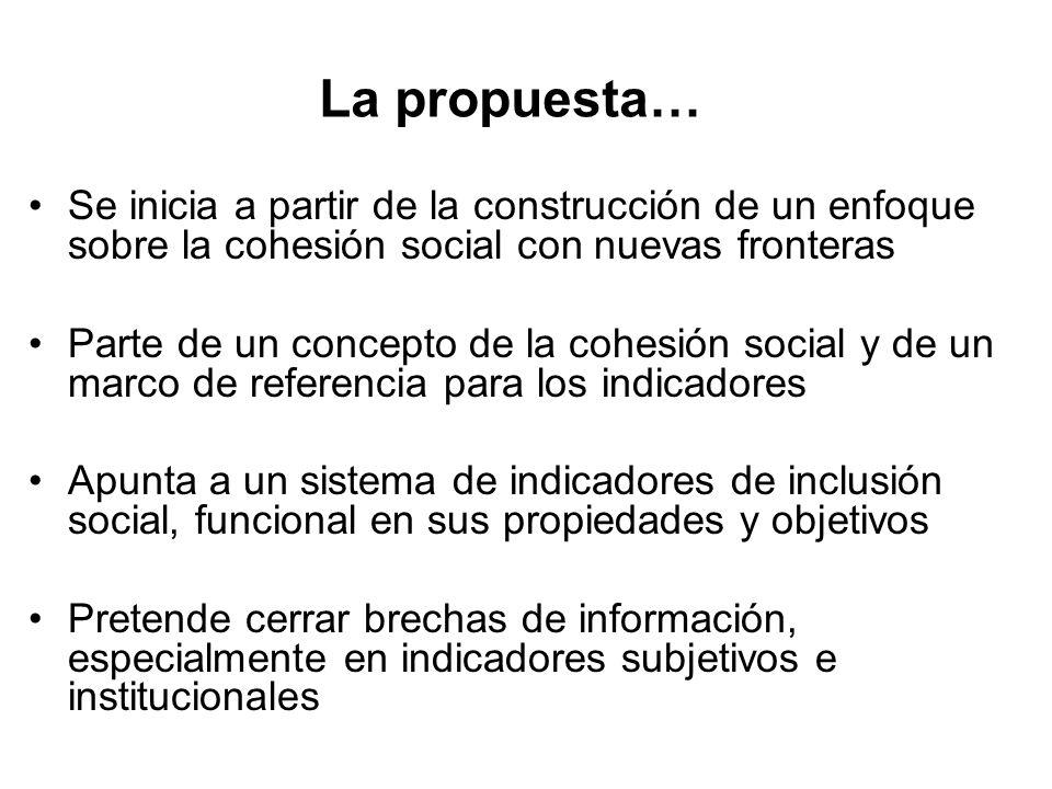 La propuesta… Se inicia a partir de la construcción de un enfoque sobre la cohesión social con nuevas fronteras.