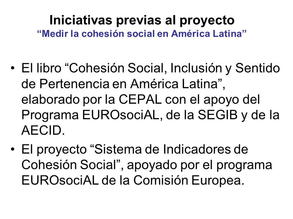 Iniciativas previas al proyecto Medir la cohesión social en América Latina