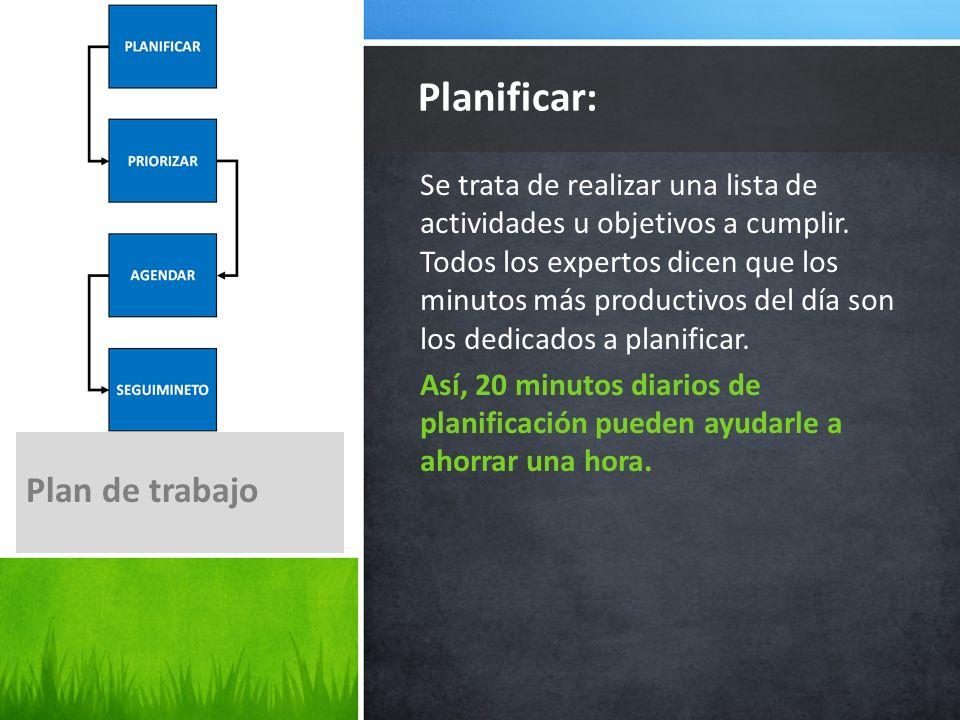 Planificar: Plan de trabajo