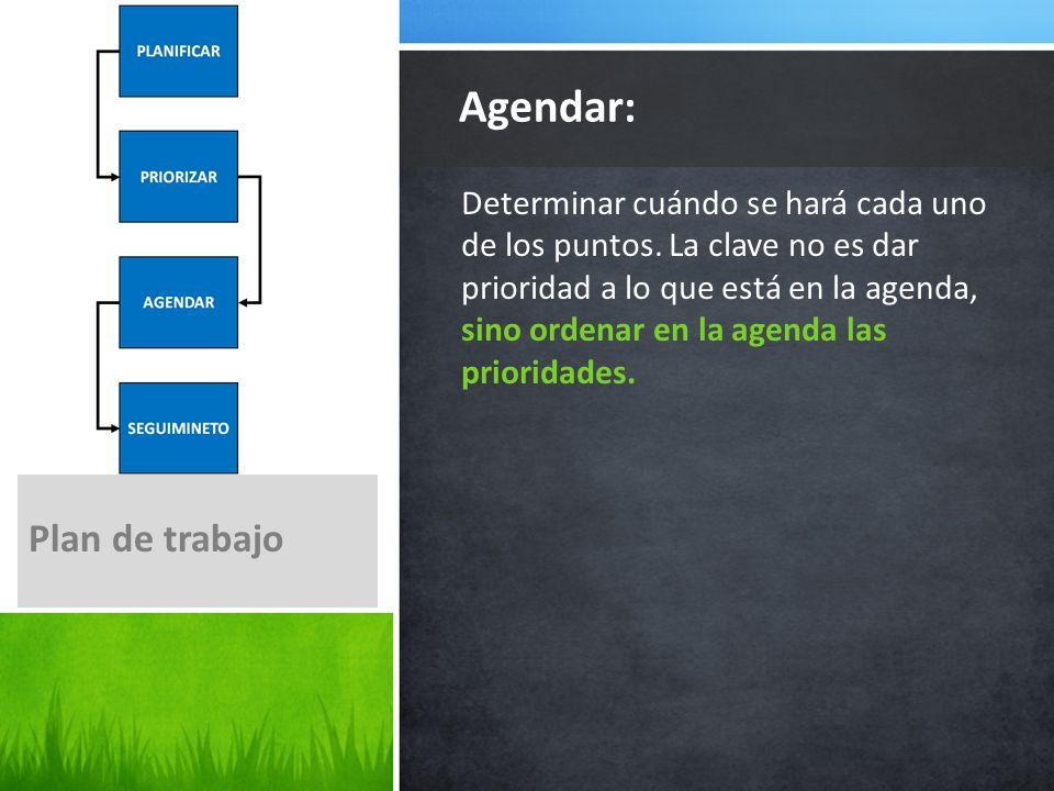 Agendar: Plan de trabajo