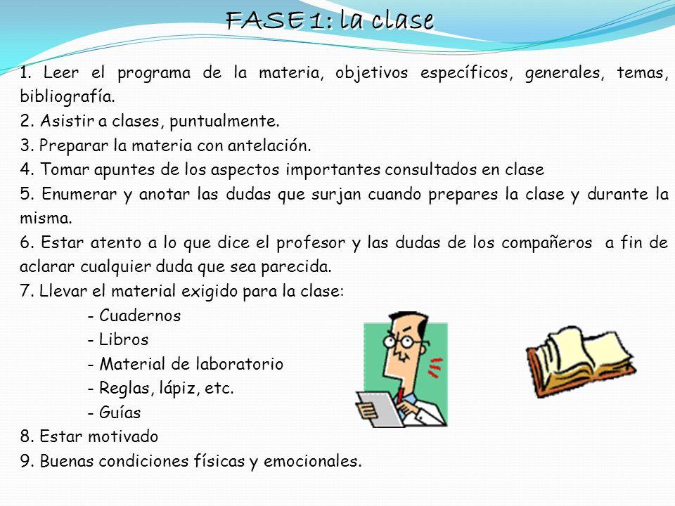 FASE 1: la clase 1. Leer el programa de la materia, objetivos específicos, generales, temas, bibliografía.