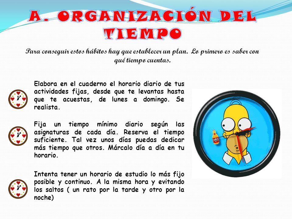 A. ORGANIZACIÓN DEL TIEMPO