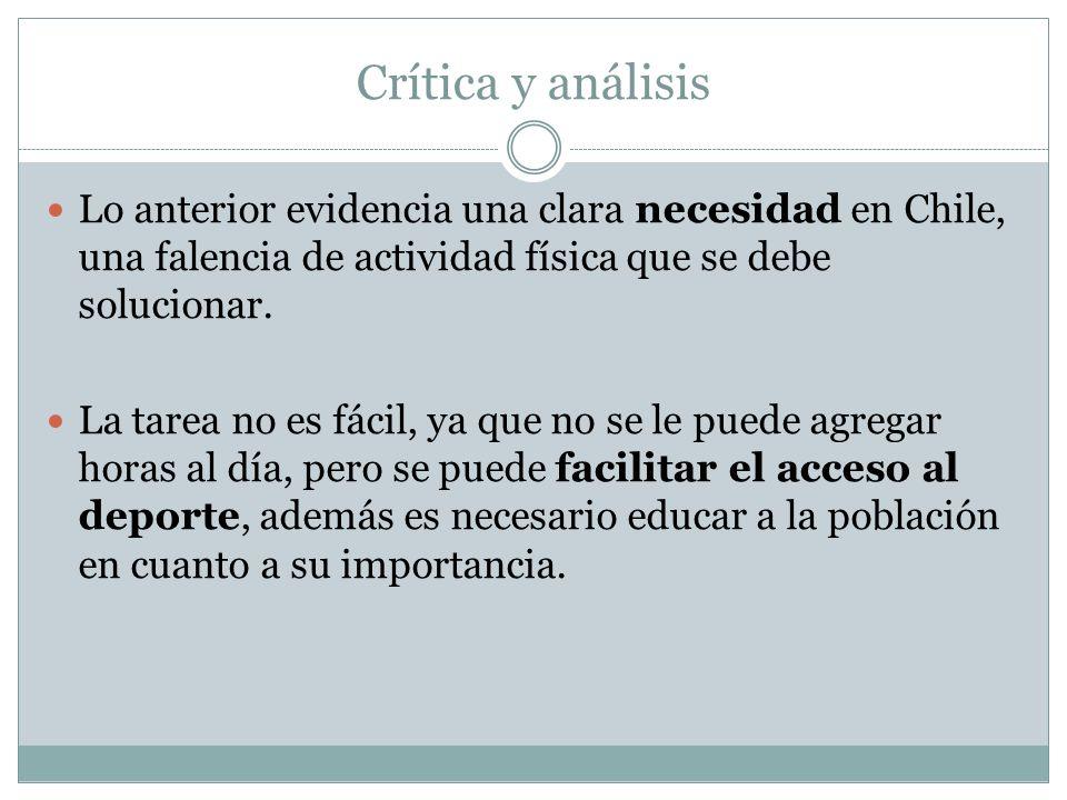 Crítica y análisis Lo anterior evidencia una clara necesidad en Chile, una falencia de actividad física que se debe solucionar.