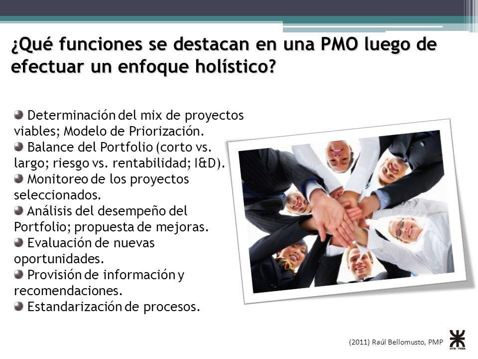 ¿Qué funciones se destacan en una PMO luego de efectuar un enfoque holístico
