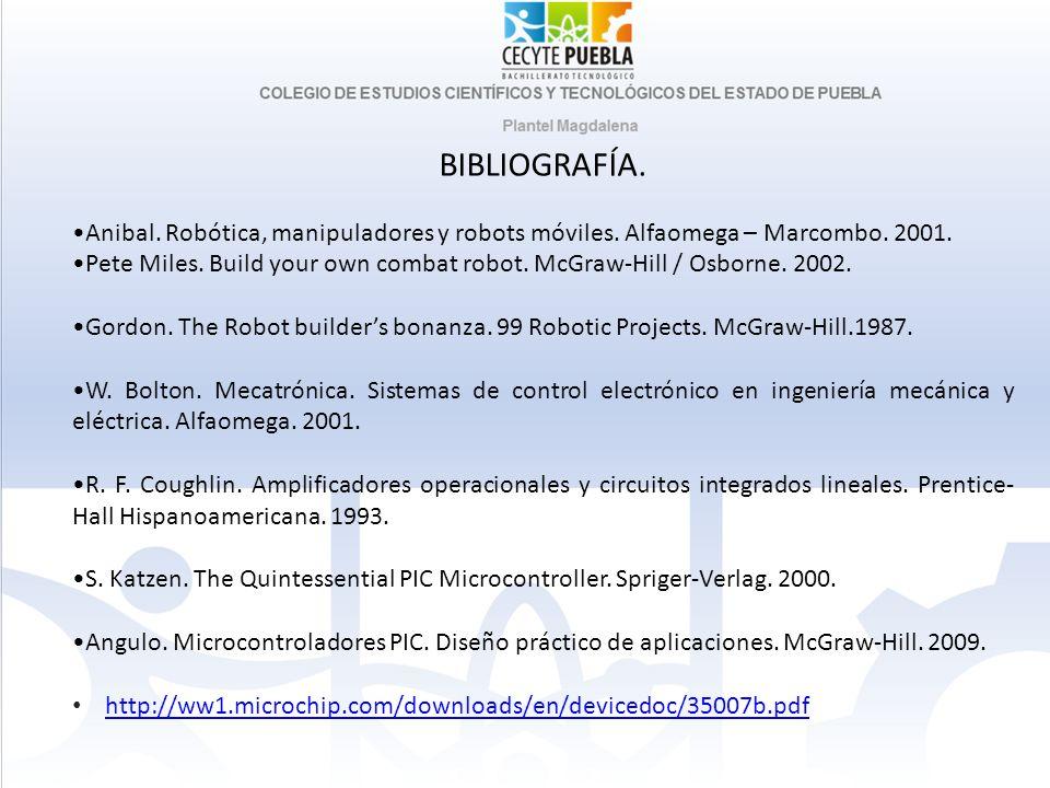 BIBLIOGRAFÍA. •Anibal. Robótica, manipuladores y robots móviles. Alfaomega – Marcombo. 2001.