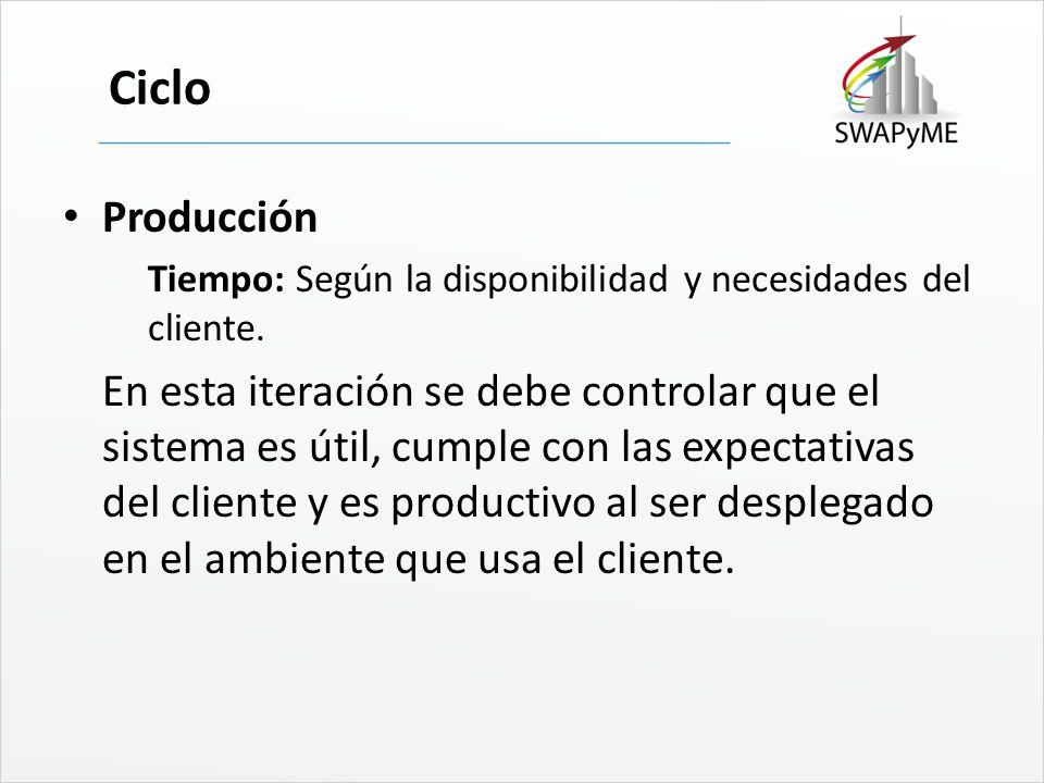 Ciclo Producción. Tiempo: Según la disponibilidad y necesidades del cliente.
