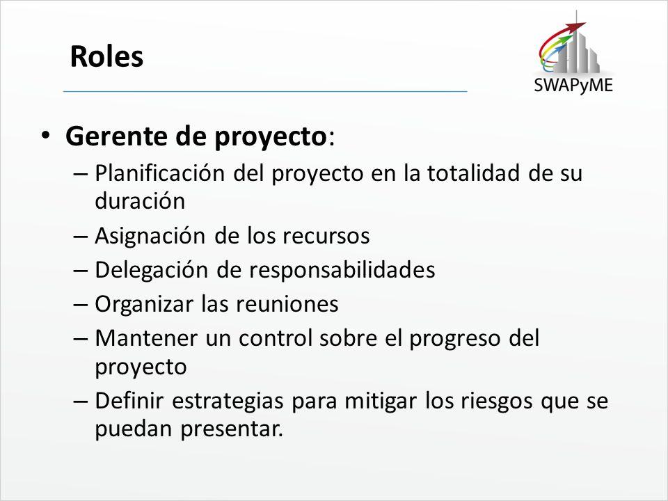 Roles Gerente de proyecto:
