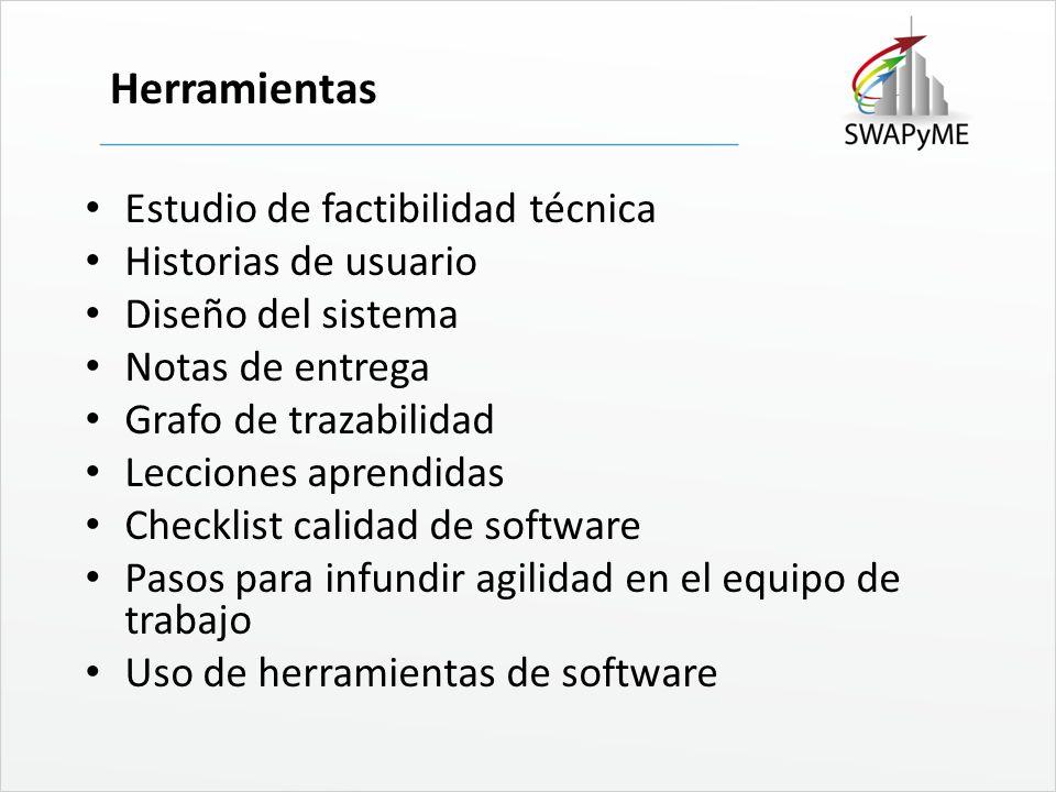 Herramientas Estudio de factibilidad técnica Historias de usuario
