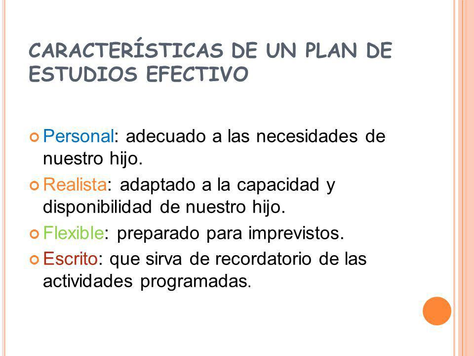 CARACTERÍSTICAS DE UN PLAN DE ESTUDIOS EFECTIVO