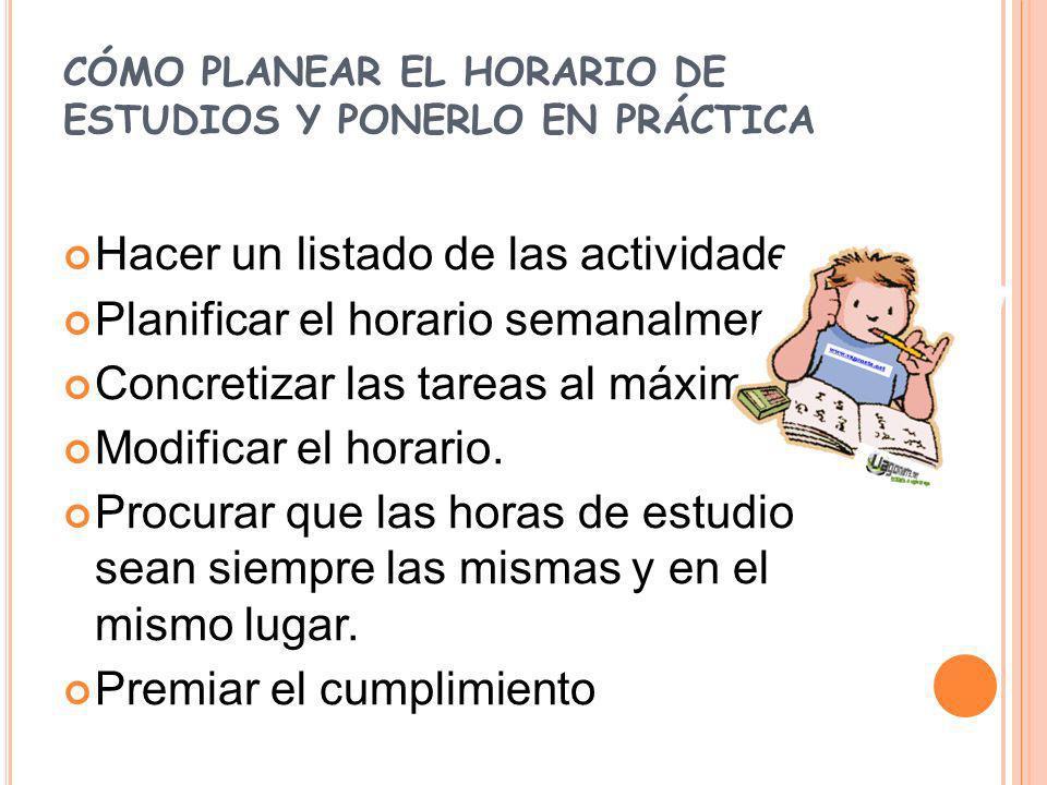 CÓMO PLANEAR EL HORARIO DE ESTUDIOS Y PONERLO EN PRÁCTICA