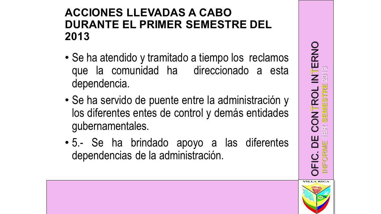 ACCIONES LLEVADAS A CABO DURANTE EL PRIMER SEMESTRE DEL 2013