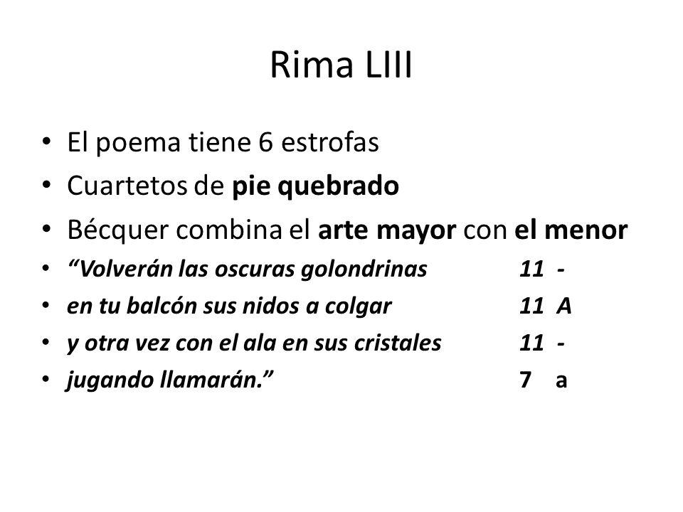 Rima LIII El poema tiene 6 estrofas Cuartetos de pie quebrado