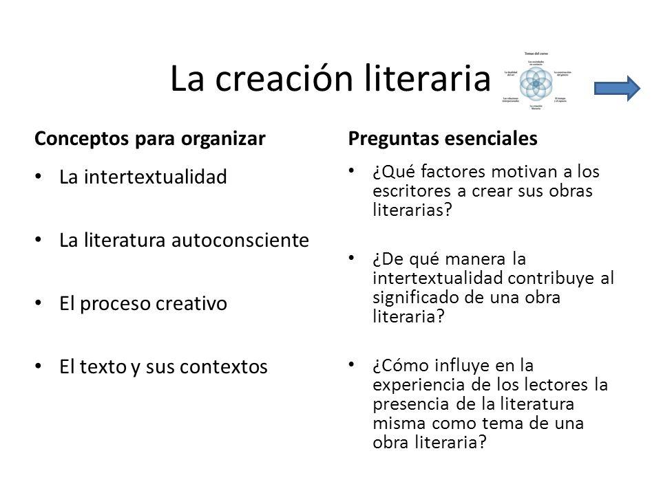 La creación literaria Conceptos para organizar Preguntas esenciales