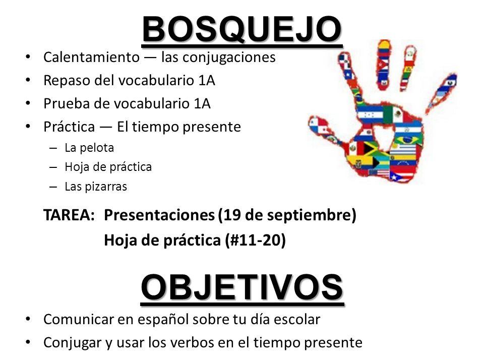 bosquejo objetivos TAREA: Presentaciones (19 de septiembre)