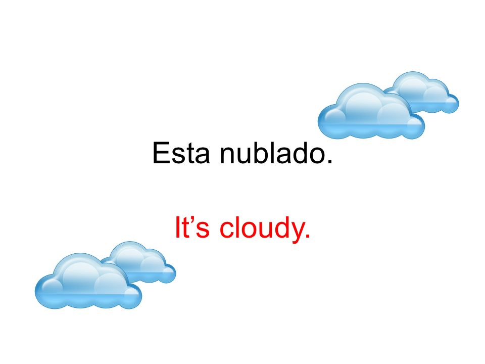 Esta nublado. It's cloudy.