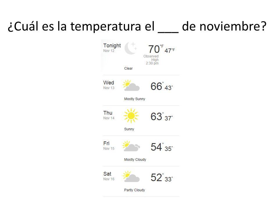 ¿Cuál es la temperatura el ___ de noviembre
