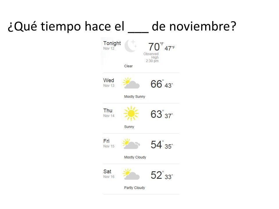 ¿Qué tiempo hace el ___ de noviembre
