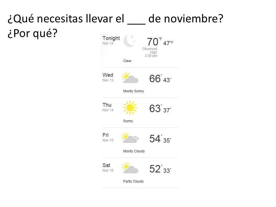 ¿Qué necesitas llevar el ___ de noviembre ¿Por qué