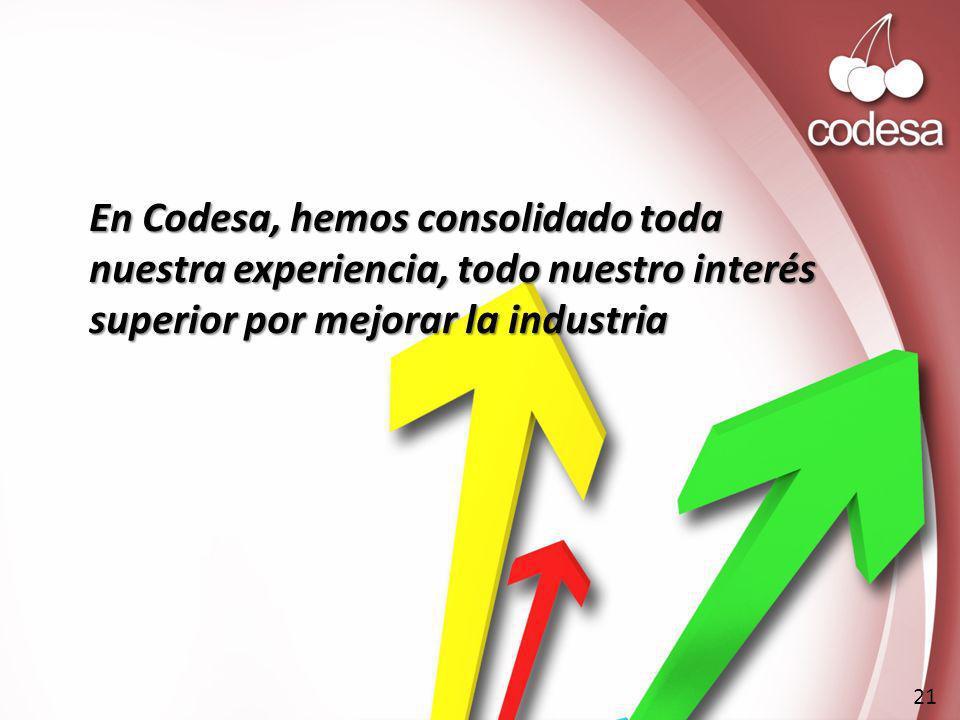 En Codesa, hemos consolidado toda nuestra experiencia, todo nuestro interés superior por mejorar la industria