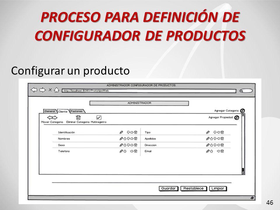 Configurar un producto