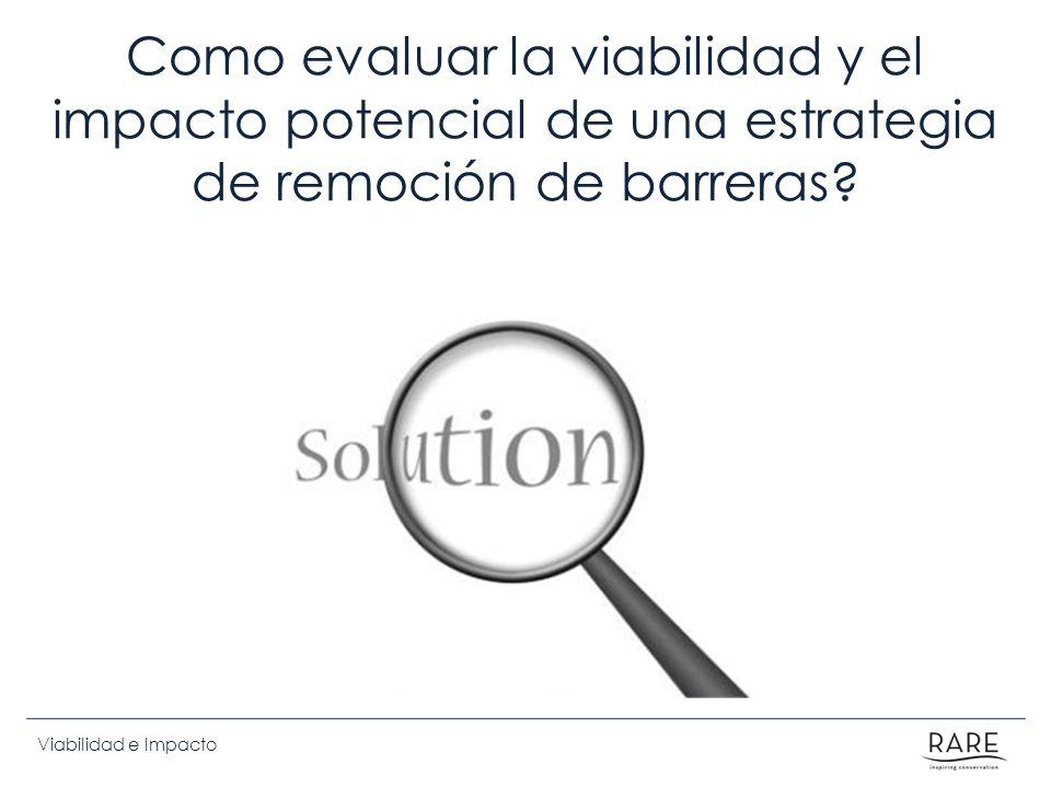Como evaluar la viabilidad y el impacto potencial de una estrategia de remoción de barreras