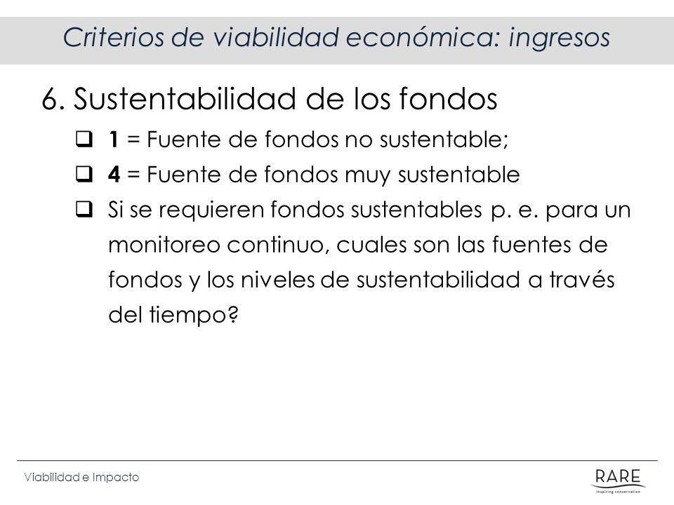 Criterios de viabilidad económica: ingresos
