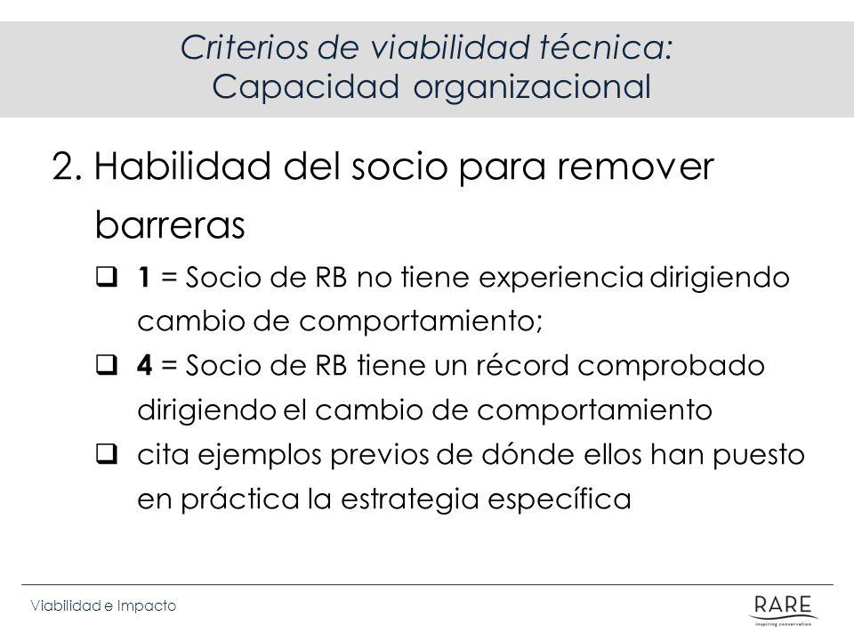 Criterios de viabilidad técnica: Capacidad organizacional