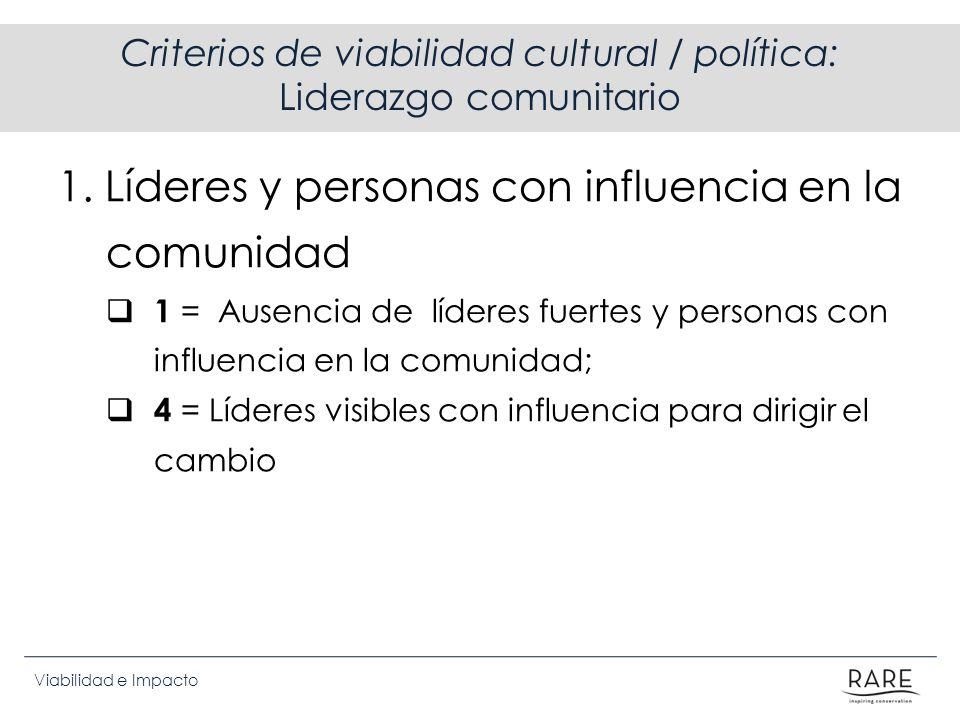 Criterios de viabilidad cultural / política: Liderazgo comunitario