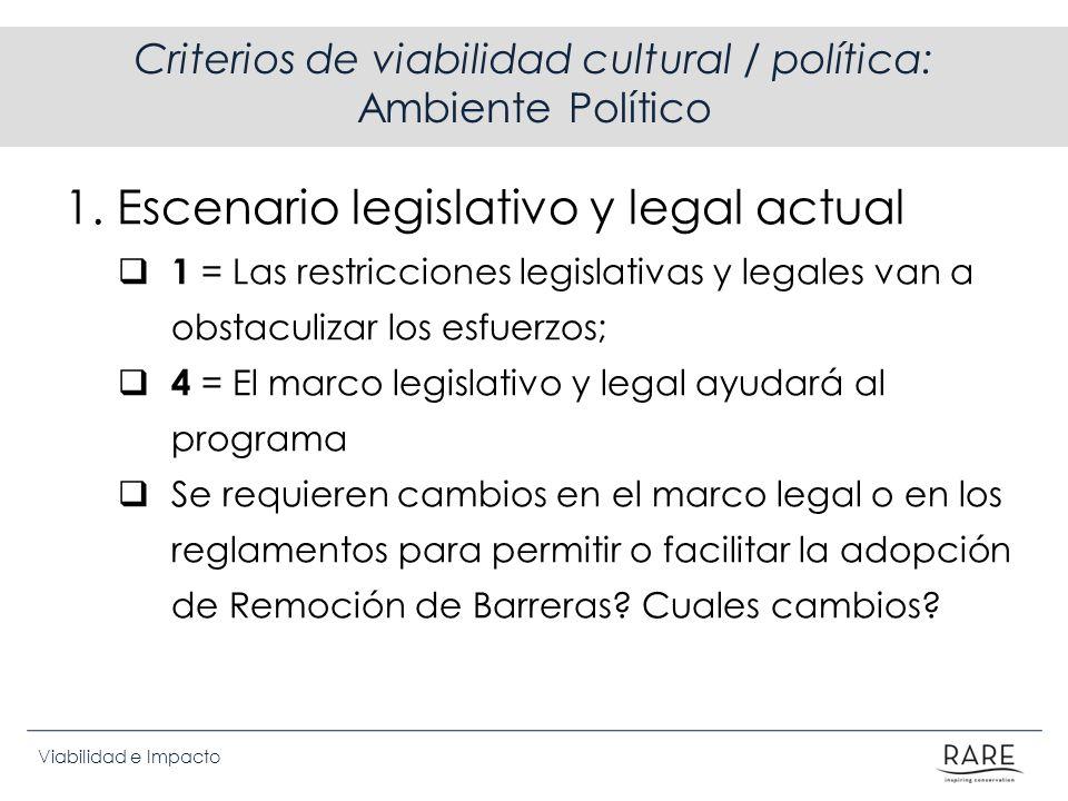 Criterios de viabilidad cultural / política: Ambiente Político