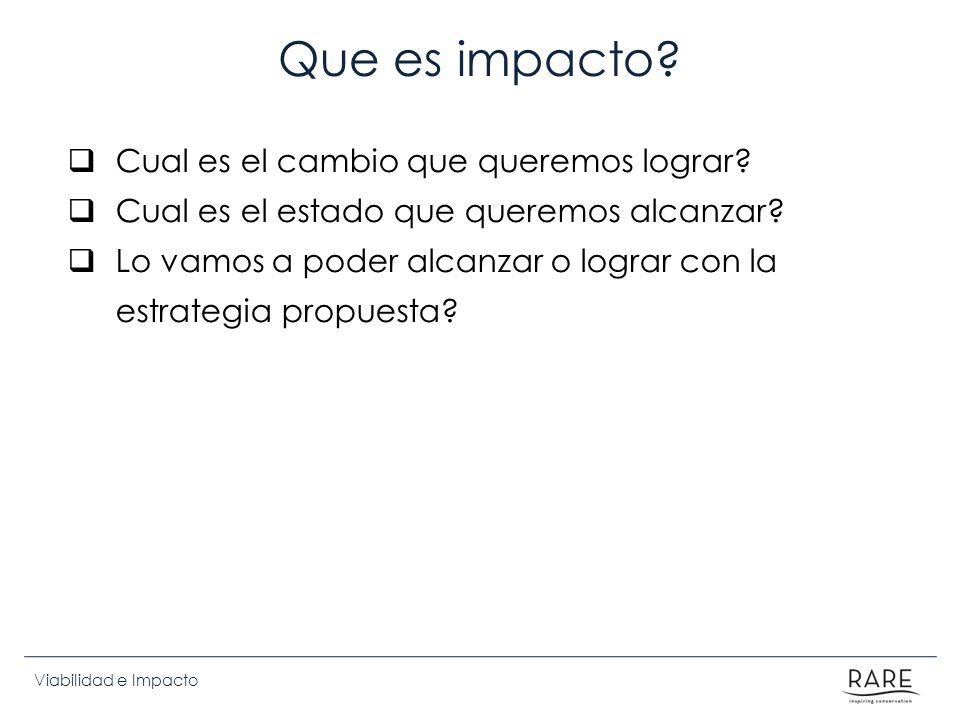 Que es impacto Cual es el cambio que queremos lograr