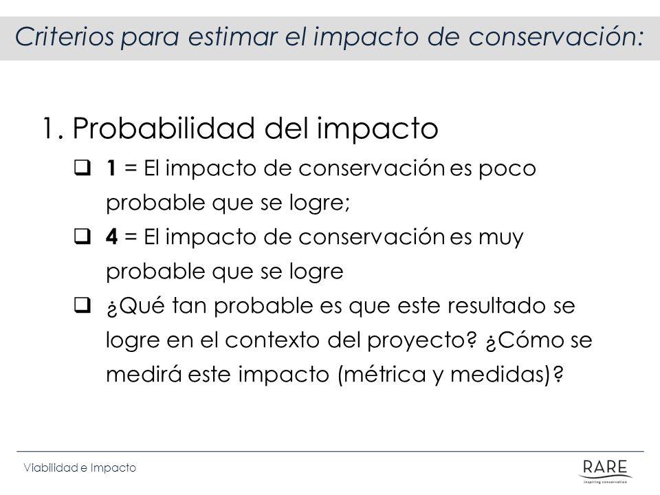 Criterios para estimar el impacto de conservación: