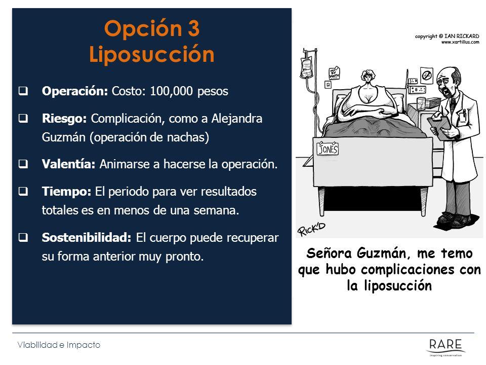 Señora Guzmán, me temo que hubo complicaciones con la liposucción