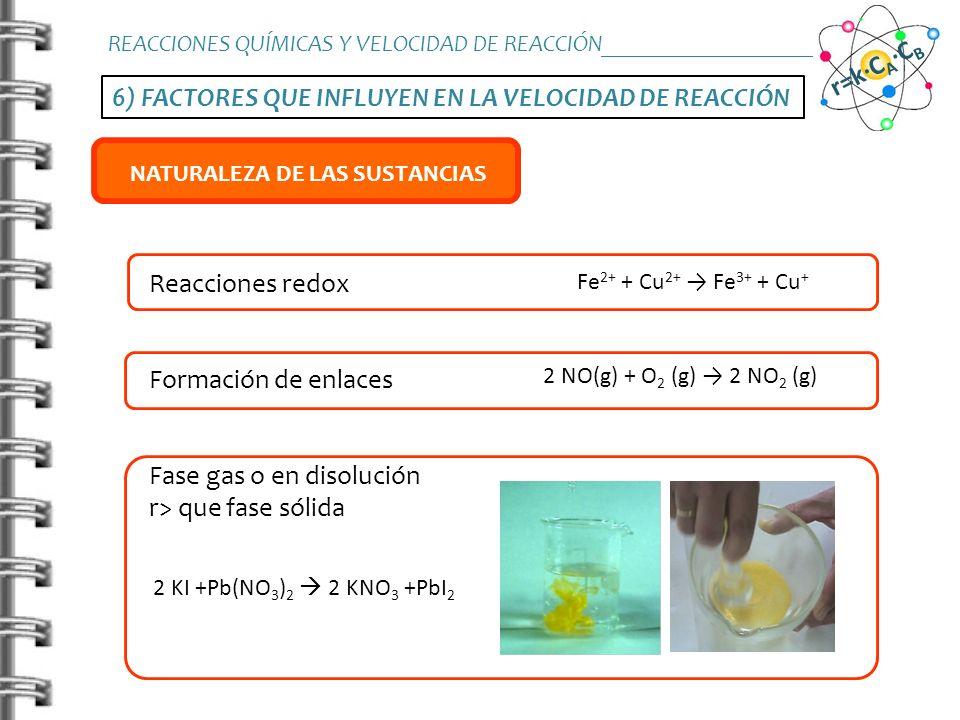 6) FACTORES QUE INFLUYEN EN LA VELOCIDAD DE REACCIÓN