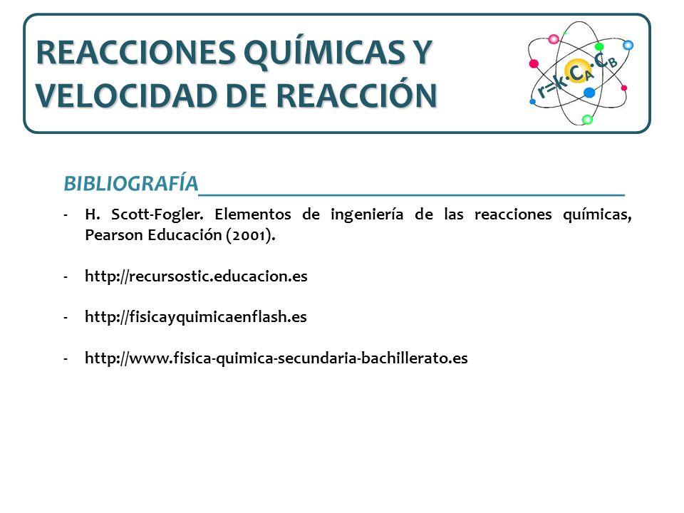 REACCIONES QUÍMICAS Y VELOCIDAD DE REACCIÓN r=k·CA·CB
